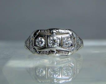 Antique 18k White Gold Ladies 3 Diamond Gemstone Ring 8.25 Ornate Setting High Polish Current GIA Appraisal Included DanPickedMinerals