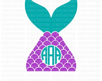 Mermaid SVG, Mermaid Tail SVG, Mermaid Monogram Svg, Mermaid Shell Svg, Summer SVG, Cricut Cut Files, Silhouette Cut Files, Svg Files