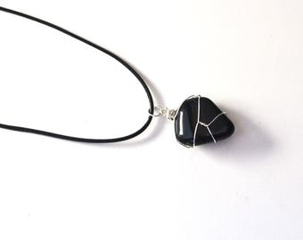 Black Obsidian Necklace, Gifts for Him, Mens Stone Necklace, Mens Jewelry, Black Stone Necklace, Obsidian, Boyfriend Gift, Geology Gifts Him