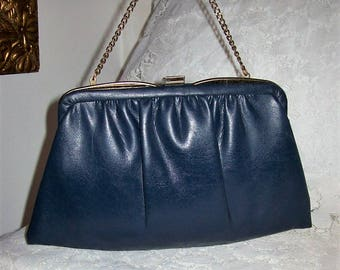 Vintage 1960s Ladies Navy Leather Clutch Bag w/ Flip Lock & Hang Chain by Ande Only 8 USD