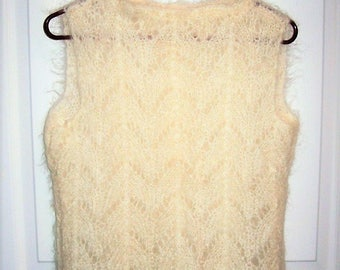 Vintage Ladies Off White Hand Crocheted Mohair Sweater Vest Homemade Medium Only 8 USD