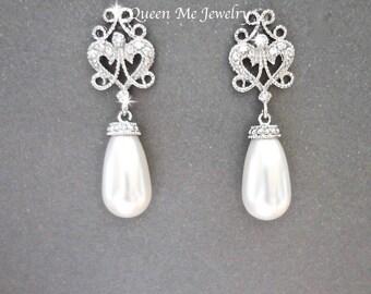 Pearl earrings, Swarovski pearl earrings, Brides pearl earrings, Pearl wedding earrings, Victorian style, Pearl drop earrings, VICKI