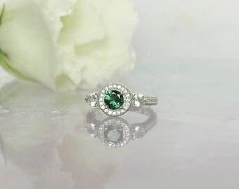 Tourmaline Ring, Green Engagement Ring, Tourmaline Halo Ring, Tourmaline Engagement Ring, Green Tourmaline RIng, Green Gemstone Ring