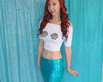 Mermaid Skirt, Green Mermaid Skirt, Festival Clothing, Holographic Clothing, Mini Pencil Skirt, Disneybound, Ariel Skirt