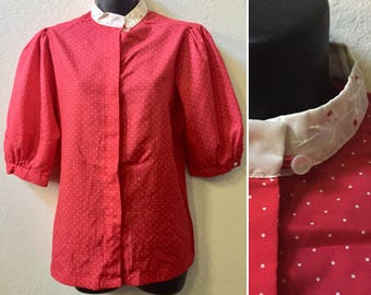 Polka dot blouse, 1980s blouse, puff sleeve shirt, high neck blouse, embroidered flowers, size medium blouse, Cheryl Tiegs, Valentine's Day