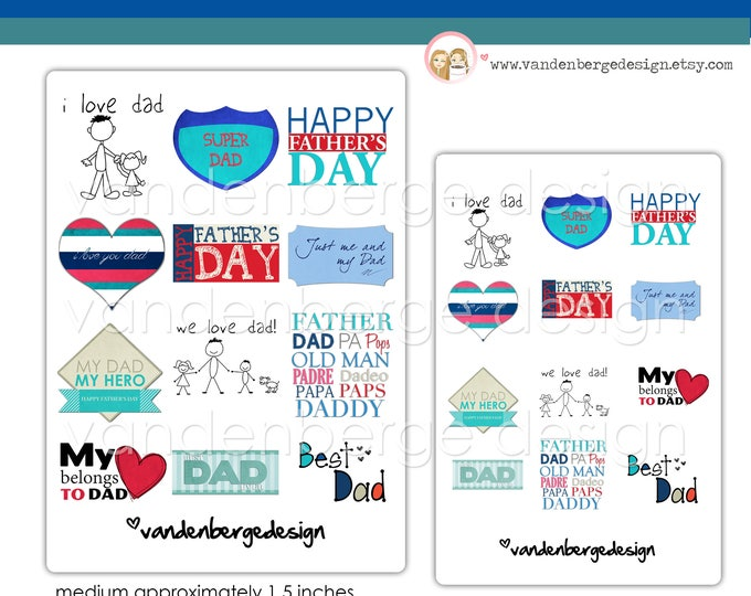 SALE! Printed Stickers - I Love Dad