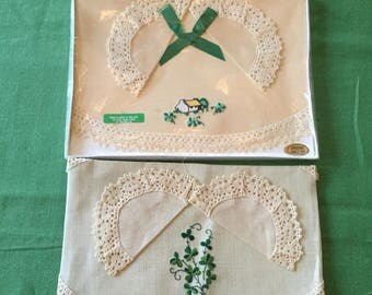 2 Pure Irish Linen Dresser Sets Brownlow Shamrock Embroidery Crochet Lace Edge Dressing Table Doily Set UnUsed Made in Ireland