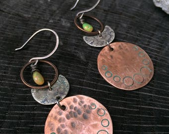 Modern Viking Lunate Earrings - Hand Forged Mixed Metals Copper & Sterling Silver Crescent Moon - Welo Opal October Libra Birthstone -