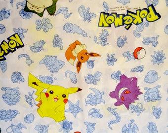 Vintage 1998 Pokemon 90s TWIN SHEET SET Fitted Sheet Flat Sheet Pikachu Eevee Gengar Snorlax