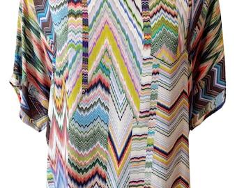 Geometric Blouse, Plus Size Shirt, Missoni Print, Viscose Blouse, Designers shirt, Summer Shirt, Natural Fabric