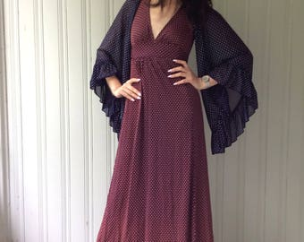 vintage 1970s Maxi Dress Festival Boho Batwing Burgundy and Navy Long Dress with Tie Back