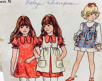Butterick 6644 Girl's Size 6 Dress and Pinafore