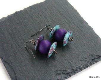 Purple Bead Earrings, Polymer Clay Earrings, Greek Ceramic Bead Earrings, Blue Earrings, Gun Metal Earrings, Polymer Clay Jewelry