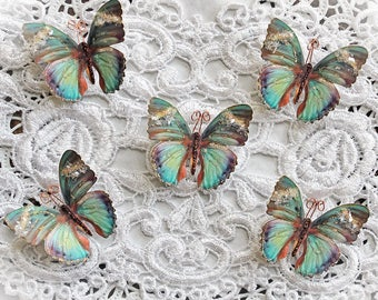 Reneabouquets Tiny Treasures Butterfly Set-  Into The Mystic Glitter Glass Butterflies Scrapbook Embellishment, Home Decor, , Wedding