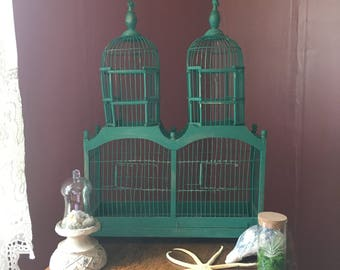 Vintage Double- Domed Green Wood & Metal Birdcage- Victorian- Style Birdcage