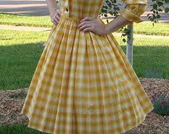 cheerful YELLOW PLAID swiss dot SHIRTWAIST dress S 28 waist