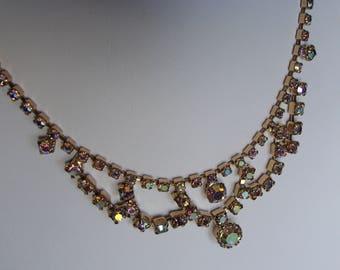 vintage 50's AURORA BOREALIS RHINESTONE ab princess necklace 1950's