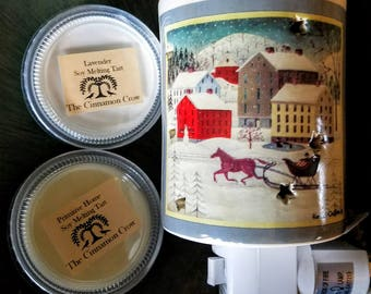 Winter scene plug in tart warmer with hand poured soy wax tarts