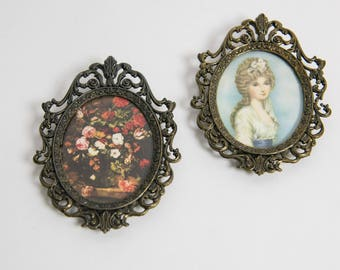Set of 2 1980s Ornate Framed Floral and Victorian Hanging Wall Art