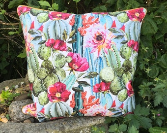 Cactus cushion. Succulents and cacti floral pillow. FREE UK P&P. Pair available.