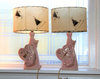 Vintage Pair Bedroom Lamps Mid Century Pink & Gold Hearts Arrows 1950s