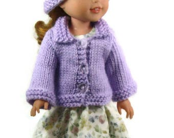 Wellie Wishers Doll Clothes: Handmade 5 Piece Set Light Purple Sweater, Hat, Scarf, Dress & Bracelet,Christmas in July Gift