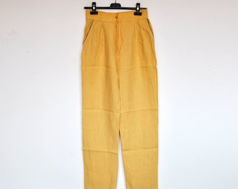 Vintage Pale Yellow Linen High Waist Tapered Pants