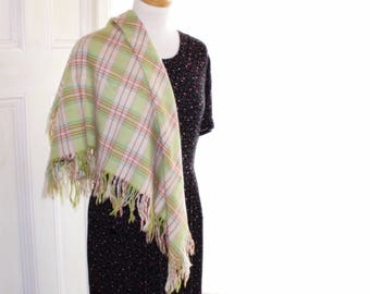 Vintage Welsh wool  shoulder shawl. Welsh wool shawl. Pastel wool shawl. Welsh flannel shawl