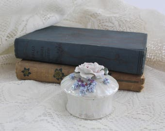 Vintage Porcelain Keepsake Trinket Box with Flower Lid Made in Germany