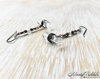 OOAK Double Terminated Quartz Dangle Earrings, Quartz Crystal Earrings, Hypoallergenic Niobium Earrings, Copper Earring, Boho Stone Earrings