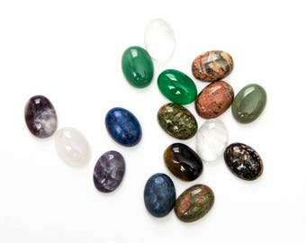 5 Cabochons 18x13mm - Gemstones - Oval Domes - Assorted - Ships IMMEDIATELY from California - C362