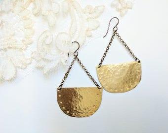 Hand Hammered Brass Earrings