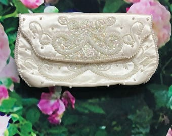 50s  Bon Soir White Satin Pearl Beaded Clutch Bridal Wedding Handbag Purse