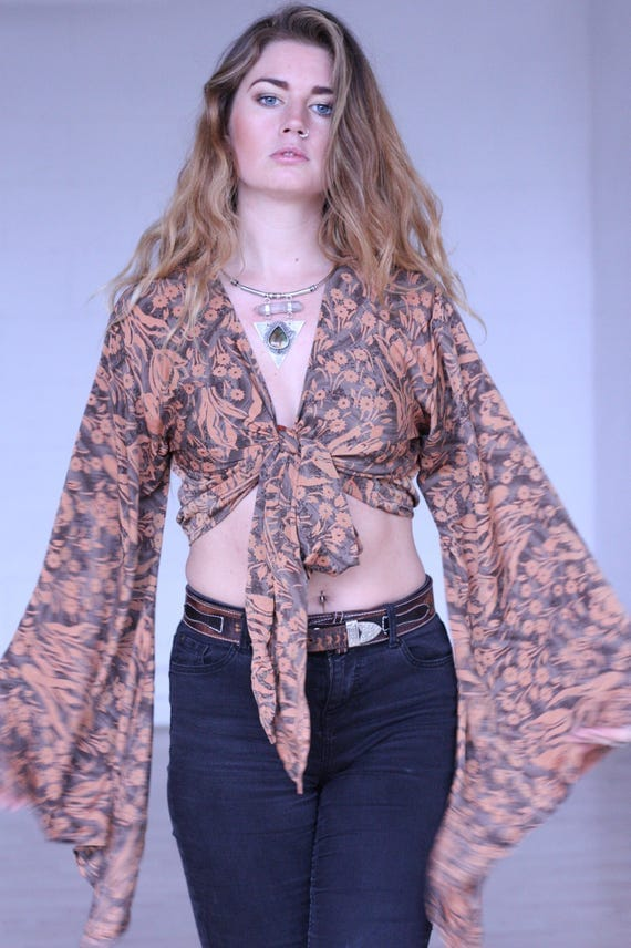 STEVIE CROP TOP - Bell sleeve top - Silk Tie Top - Vintage - Festival Top - Hippie - Retro - 70s - Crop Top - 100% Silk - Couture - Ethnic