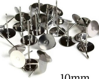 10mm Stainless Steel earstuds - post earrings - flat pad earrings - stainless steel earrings - stud earrings (1977)