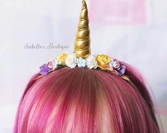 Pink Gold Yellow Lavender Aqua Purple Rainbow Unicorn Headband -  Infant Baby Toddler Child Girls Headband First Birthday