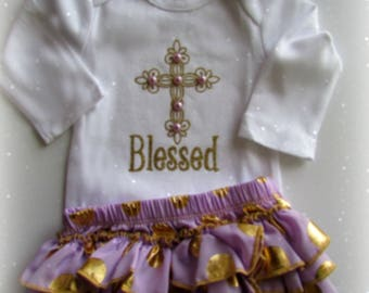 Baby Girl Lavender Gold Easter Baptism outfit Newborn Take Home outfit Girl Christening Outfit Lavender Girl Shower Gift Christian Clothing