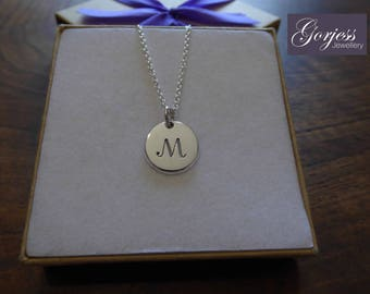 Letter M Initial Silver Pendant Necklace