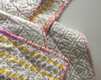 Modern Whole Cloth Baby Quilt - Dots and Squares