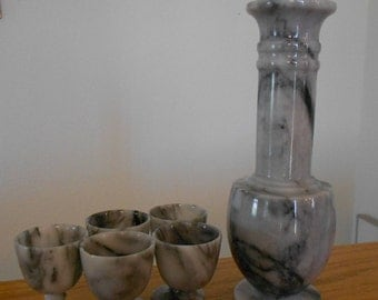 Vintage onyx wine set.  Carafe.  Drinking accessory.