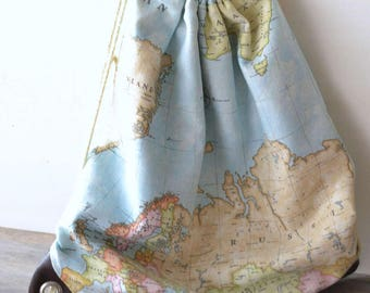 Drawstring backpack - gym backpack - school backpack - world map backpack