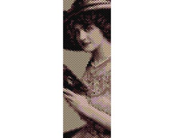 Vintage Lady 27 Peyote Bead Pattern, Bracelet Pattern, Bookmark, Seed Beading Pattern Miyuki Delica Size 11 Beads - PDF Instant Download