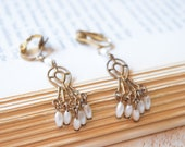 1950's Spanish Style Earrings | Dangle Chandelier Pearl Earrings