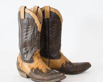 Vintage Brown Leather Cowboy Boots Indie Festival Women's UK 8 EU 42 US 10