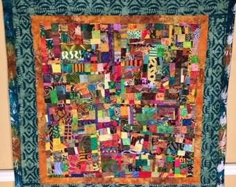 African Safari Modern Art Quilt Collage Wallhanging//FREE SHIPPING