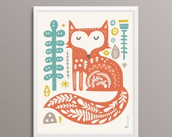 "FOX Folk Art Print - 8x10"" - Limited Edition"