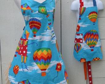 Mother and Son Apron Mommy and Me Matching Aprons Rainbow Hot Air Balloon Reversible Aprons