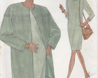 90s Dress & Jacket Pattern Vogue 8422 Sizes 8 10 12 Uncut