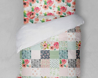 Floral Twin Girls Bedding Duvet Cover Sheets Sham Farmhouse Comforter Faux Patchwork Flowers Stripes
