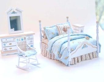 NANTUCKET Getaway Seashells 5pc Handpainted Dollhouse Miniature Bedroom Bed Set 1:12 Beige Aqua White Coastal Beach Theme